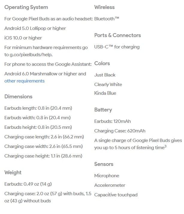 google pixel specifications wireless hearable