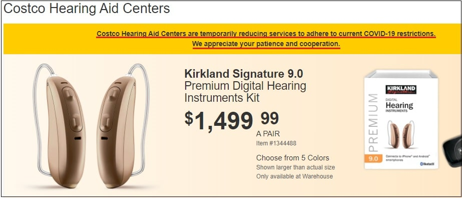 costco hearing aid center covid 19