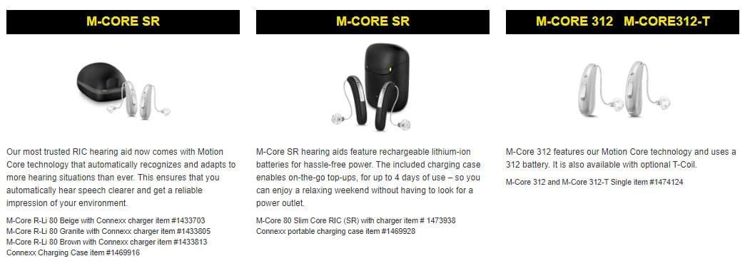 rexton hearing aids m-core