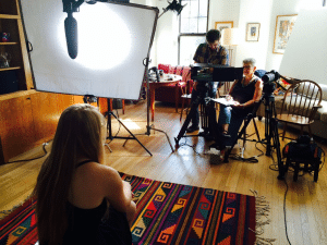 Susan being interviewed by Jane Madell, as the director films.