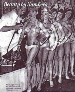 The Show Must Go On. Rockettes get their flu shots in 1963.