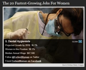 dental hygienist 5th fastest growing profession for women