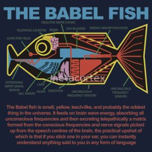 http://www.redbubble.com/people/metacortex/works/9332189-hitchhikers-guide-to-the-galaxy-babel-fish?p=t-shirt
