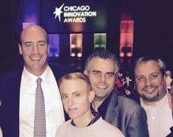 left to right: Todd Murray, Jeremy Steiner, Steve Hallenbeck, Paul Giampaolo at 13th Annual Chicago Innovation Awards