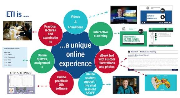Figure 1. Overview of Eduplex Training Institute interactive eLearning site features.
