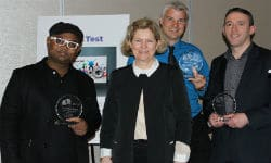 Lise Lotte Bundesen, managing director of the Ida Institute, with the three first prize winners. They are, from left, Khalid Islam, Curtis Alcott, and Kasper Rubin.