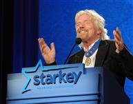 Richard Branson giving his acceptance speech.