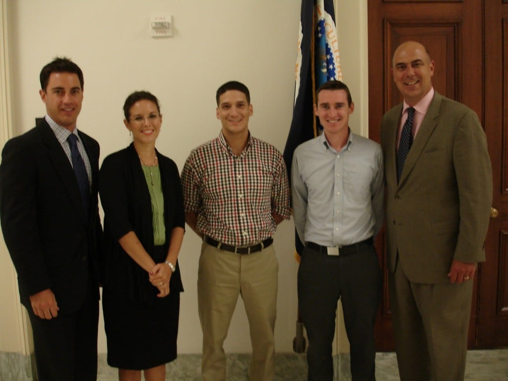 Pictured from left are Brook Brunson, a lobbyist for IHS; Alissa Parady, IHS governmental affairs director; Brendon Gehrke, military legislative assistant for Rep. Walz; Robert Hamill, Legislative Assistant for Rep. Duffy; and Matt Eversmann, national spokesperson for Fit to Serve.