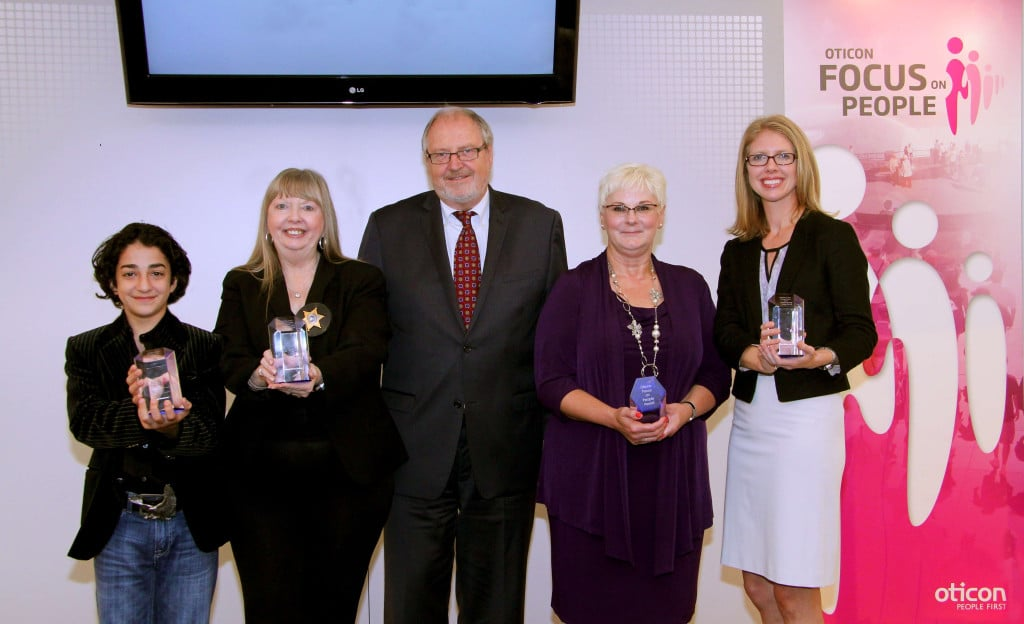 Focus on People Award recipients are shown with Peer Lauritsen, president of Oticon, Inc. From left are Vako Gvelesiani, Susie Cambre, Lauritsen, Joyce Edmiston, and Susie Ternes.