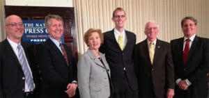 Representatives of the organizations that reached agreement on closed captioning are, from left,  John Fithian, president and CEO of NATO;  John Stanton