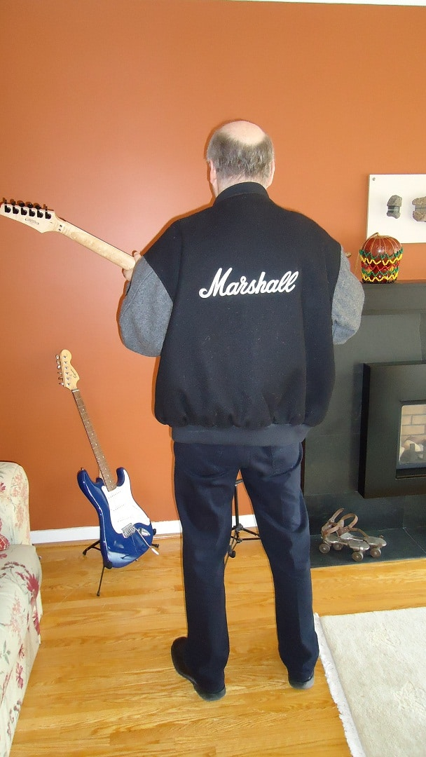 Marshall Chasin wearing his Marshall Amplifier jacket.