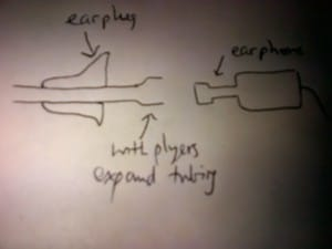 A schematic drawn in a pub showing how #13 tubing can be installed in an in-ear monitor to improve retention and the bass response
