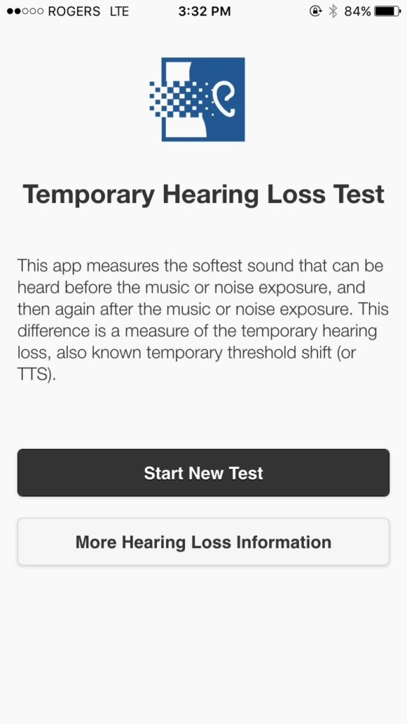 Start up screen of the Temporary Hearing Loss Test app