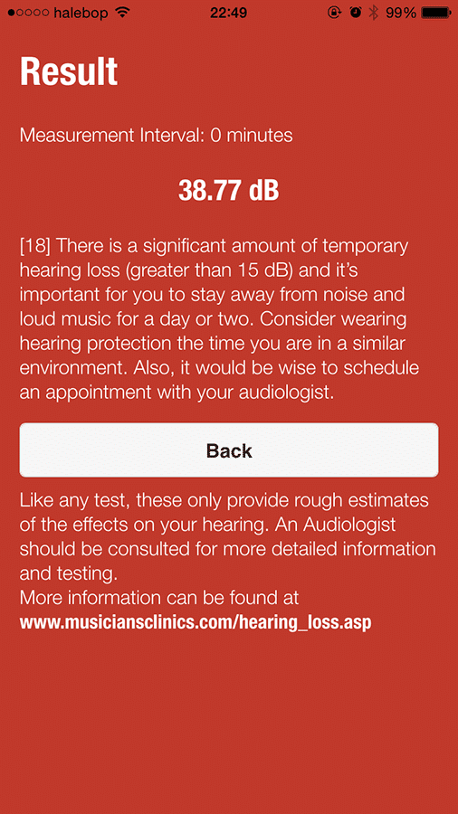 Result screen (red) showing greater than 16 dB TTS along with hearing loss prevention information