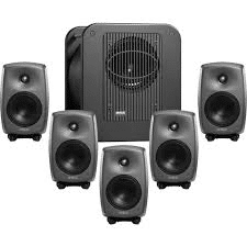 Five directional loud speakers and one subwoofer.  Photo courtesy of www.bhphotovideo.com