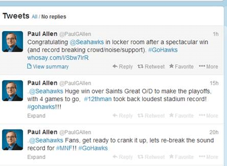 December Twitter feed from Seahawks owner Paul Allen.