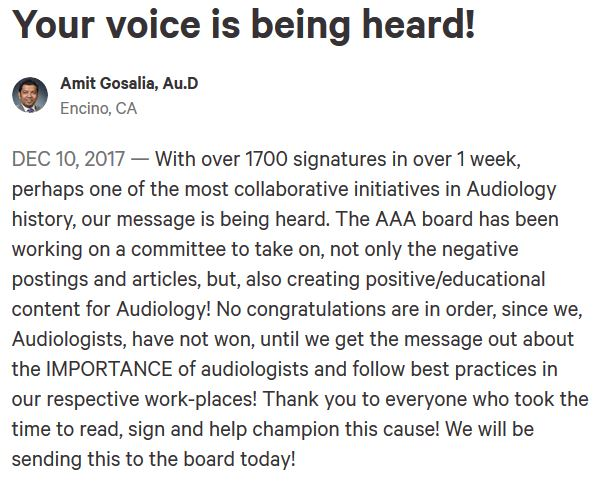 audiology petition