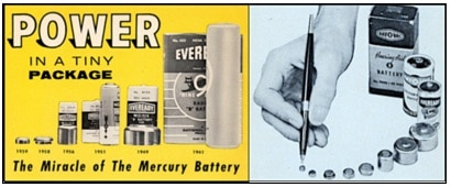 Battery size reduction over time (Eveready on the left, and Ray-O-Vac on the right).