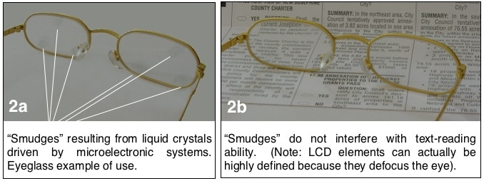 Figure 2. An example of eyeglasses, used for visual stimulation, but with liquid crystals at different locations on the lenses that respond to, and transmit information from another sense.