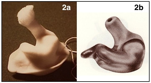 Figure 2. Ear impression (2a) and finished product produced from and investment of the ear impression (2b). The finished product could have the electronics imbedded into the earmold, as in a custom-molded hearing aid (ITE, ITC, CIC).