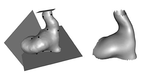 Figure 3. The left image is an example of a surface representation of an ear canal with anatomical landmarks and the planes that separate the valid from the invalid areas. The image on the right is an example of the average model shape from the mesh templates.