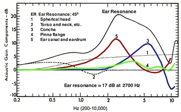 Figure 1. Components used in ear resonance. Ear resonance is the combination of the spherical head, torso and neck, concha, pinna flange, the ear canal, and the eardrum. Real-ear measurements place the ear resonance at approximately 17 dB and about 2700 Hz.
