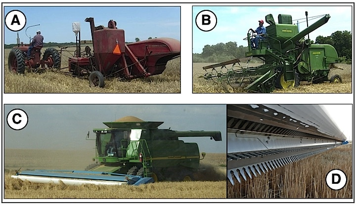 Figure 2. A pull combine is shown in A. The tractor exhaust is in front of, and at ear level, with the operator. B shows a self-propelled combine with no enclosed cab. C shows s self-propelled combine with an extensive cab designed for comfort and noise reduction. Two different types of headers are used: the reel-type shown in B (granted, a very old and short header as compared to the wide ones used today, but used to show the reel arrangement, where the wheat stalk is cut low), and D, a stripper header that takes only the grain heads, leaving the straw uncut. Headers today run up to 45 feet in width.