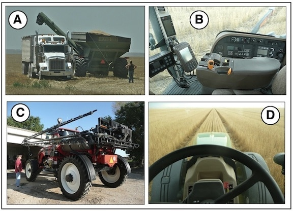 Figure 7. Modern day farm equipment used at one time or another on a wheat crop. A is a grain cart being unloaded to a semi truck and trailer. B shows the controls of a tractor. C is a self-propelled sprayer for weed control (extends to 100 feet), and D is illustrative of the straight-line impact of self-steering (hands free) farm equipment controlled by GPS. Combines, tractors, sprayers, and even some pulled implements are available with GPS control.