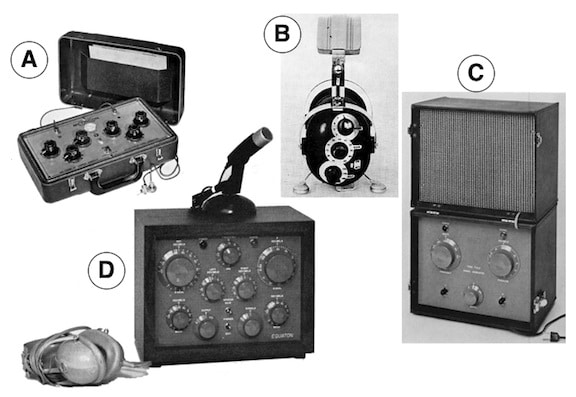 "Figure 16. Otometry test equipment. (A) Metricon Decibel Meter. This can be set to specific standard frequency responses to approximate hearing instrument specifications later to be applied. Some free-field measurement could be made to test user reaction. (B) Later Decibel Meter or otometric standard hearing instrument. Instrument could be present by dial to have specifiable properties. Selection of definable properties enables free-field measurement to obtain ""flat"" comfortable loudness pressures for ears being evaluated. (C) Otomet free-field signal generator. This instrument delivers a damped wavetrain signal at a distance of 28 inches from the front. Aided or unaided hearing evaluation may be performed over the comfortable loudness pressure range. (D) Equaton Sound Pressure Comparator. This unit allowed testing of all otometry functions. It included a speaker and/or circumaural earphones."