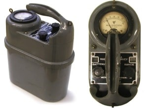 "Figure 4.  The Model 247 was designed as a more rugged, waterproof version of Victoreen's first ion chamber survey meter, the ""little black suitcase.""  It was developed and produced in large quantities during World War II as part of the highly secret  Operation Peppermint.  http://www.orau.org/ptp/collection/surveymeters/vic247a.htm"