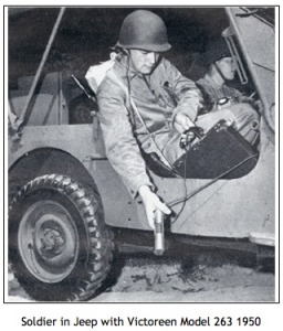 Figure 3.  US soldier using a Victoreen radiation detection device.