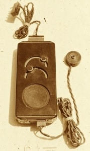 Figure 6.  Carbon hearing aid (without power source) showing the smaller receiver.