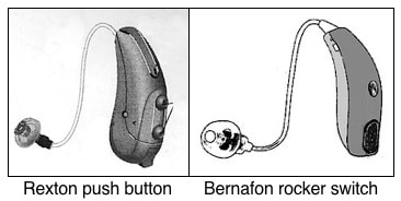 Figure 5. Common option manual volume control overrides include push buttons (left) and rocker switches (right). These generally allow the control to be used either as a volume control, or as an environmental listening option selection, but not both.
