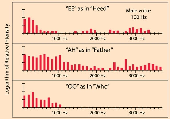 Figure 6. Sound spectra of three different vowel sounds, showing the energy by frequency that distinguishes them from each other, even though spoken by the same individual.
