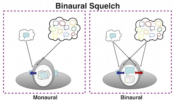 Figure 2.  Binaural squelch enables our brain to separate a speech signal from background noise and to give it more prominence for speech understanding in competing messages.