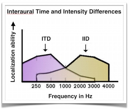 Figure 1.   Interaural time difference (ITD) and interaural intensity difference (IID) frequency involvement, showing that for the low frequencies the ITD contributes greatly to localization, while the IID contributes to localization via the high frequencies.
