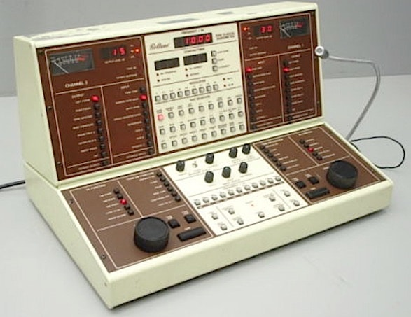 Figure 1. Beltone two-channel clinical audiometer circa 1970, dominated by push buttons.