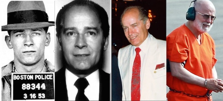 """Figure 2. Photos of James """"Whitey"""" Bulger, Irish Mafia member, with images taken over the years, ending finally with his capture in Santa Monica, California in June of 2011, after 16 years on the run. He was on the FBI's most wanted list for 12 years."""