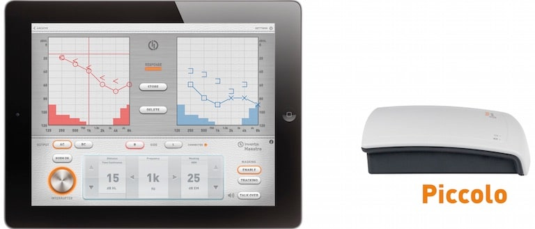 Figure 5. The Piccolo touch screen audiometer by Inventis, of Italy, using the iPad tablet.
