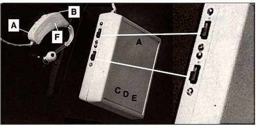 Figure 1. Switches on the digital hearing aid prototype that allowed the listener to perform a paired-comparison of the analog hearing aid. The top switch was an ON/OFF, and the bottom switch allowed for selection between an analog and digital hearing aid function.