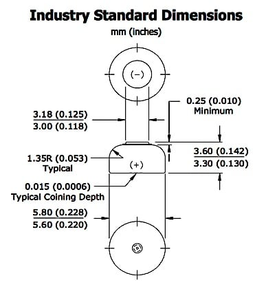 "Figure 2. Industry standard dimensions (mm and inches) for a size 10 hearing aid cell. It is identified by its maximum width, which is rounded to 0.230 inches. However, this cell is commonly identified with the size 10 designation, that attributed to be the perfect shape after Bo Derek of the movie ""Ten."""