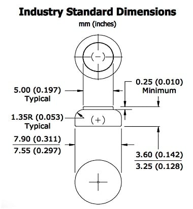 Figure 1. Industry standard dimensions (mm and inches) for a size 312 hearing aid cell. It is identified by its maximum width, which is rounded to 0.312 inches.