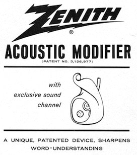 Figure 2. Zenith Radio Corporation Acoustic Modifier patented earmold.