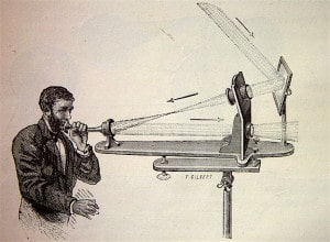 Figure 2. An illustrator's conception of the Bell-Tainter light-based phone.