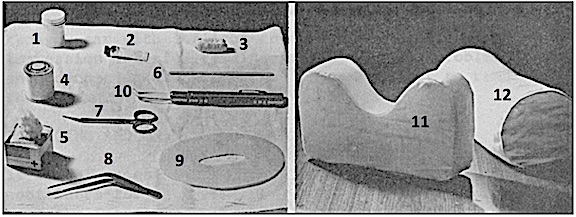 Figure 1. Materials and tools for making the first poured ear impressions.