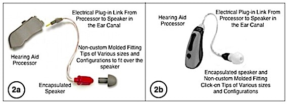 Figure 1. 1a) Original PAC (post-auricular canal) hearing aid shown separated into its component parts: hearing aid processor, link with speaker (receiver) attached, and size-selectable fitting tip. 1b) Current design shown (not separated as in 1a), although it separates into the separate parts also. This design innovation is now commonly referred to as a RIC (receiver-in-the-canal) hearing aid. Closed or open fitting tips can be used.