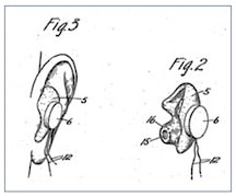 Figure 3.  Halsey A. Frederick patent for a custom earmold in 1926, attached to a button receiver/speaker.  Although made as a custom earmold, the patent teaches nothing about the procedure for taking the ear impression.  The history of ear impression procedures was earlier, about 1980.