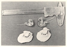 Figure 4. The photo shows the original ear impressions and finished earmolds for U.S. astronauts Gordon Cooper and Pete Conrad as used on their Gemini space flight. Five earmolds each were made for the two astronauts and their backup crew, Neil Armstrong and Elliott See6.