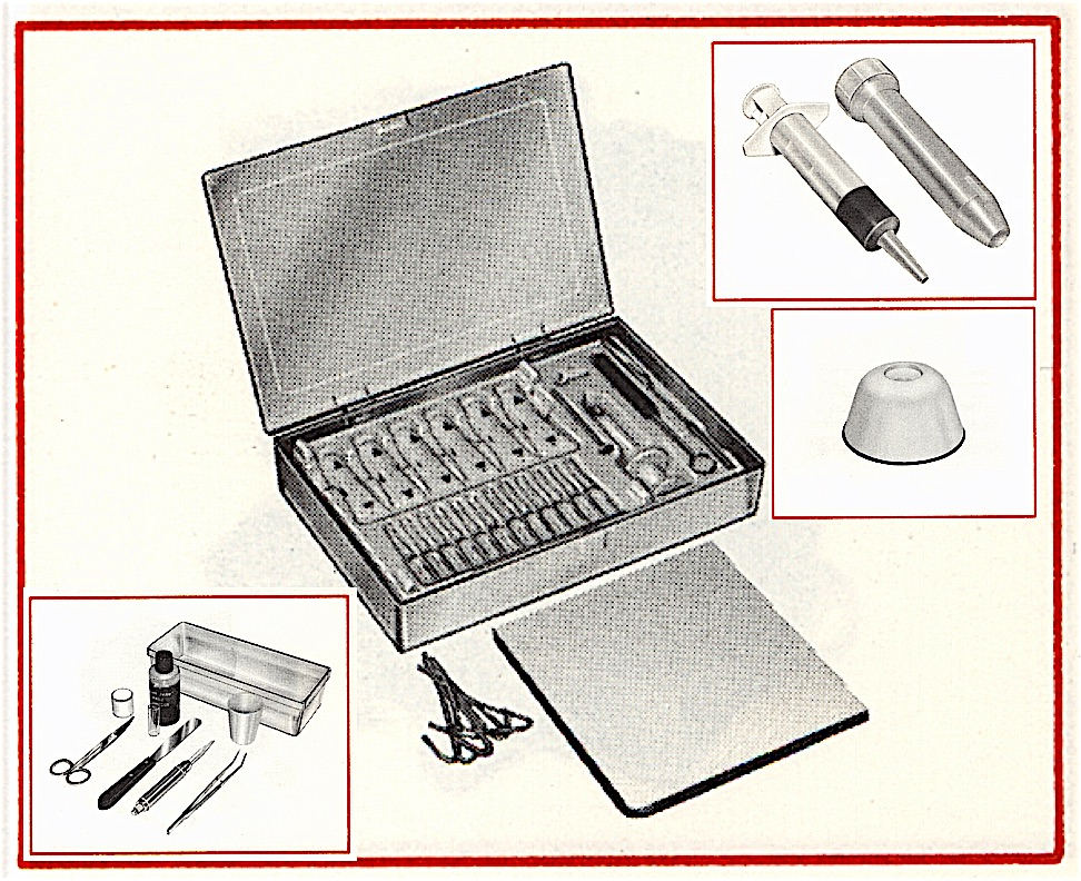 Figure 1.  The instant earmold kit designed by Zenith following its introduction by Frisch and Blanchard.  It contains pre-measured tubes of Silastic® Brand Earmold Polymer, sealed glass ampules of pre-measured liquid catalysts, syringe, and syringe cleaning brush, mixing spatula, mixing pad, and core drill.  After removal, the earmold is trimmed of excess material, and a hole is hand drilled for the eventual tubing.  The edges are smoothed with an emery board or small hand grinder. The sound tube is then inserted into the drilled hole. (Image modified by Staab from Zenith Earmold Catalog, undated4).