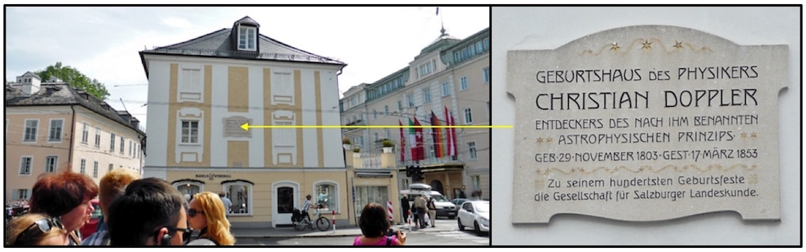 Figure 1. Birthplace of Christian Doppler in Salzburg, Austria, a physicist best known for the Doppler Effect. The Doppler effect explains the difference in sound perceived by an observer when there is movement between the observer and the source. As an example, how the siren of an emergency vehicle changes in pitch as it approaches and then passes by.